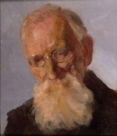 Portraitkopf eines bärtigen alten Mannes (+ Sitzender bärtiger Mann im Wirtshaus, dd 1919; verso) by Heinrich Reifferscheid