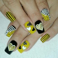 The Best Nail Art Designs – Your Beautiful Nails Yellow Nails Design, Yellow Nail Art, Heart Nail Art, Heart Nails, Latest Nail Art, New Nail Art, Nail Polish Designs, Cute Nail Designs, Gel Polish
