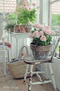 Dell idea for balcony with geraniums - balcony & garden - .- Dell Idee für Balkon mit Geranien – Balkon & Garten – Dell idea for balcony with geraniums – balcony & garden – - Jardin Style Shabby Chic, Shabby Chic Rustique, Shabby Chic Veranda, Cottage Shabby Chic, Shabby Chic Porch, Shabby Chic Living Room, Shabby Chic Interiors, Shabby Chic Homes, Shabby Chic Decor