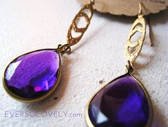Dark Faceted Purple and Gold Earrings