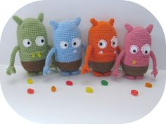 Ravelry: Jelly Bean Monsters pattern by Sharon Ojala  @Roxanne Yamashita I think you will like these guys!!
