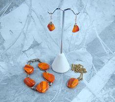 Orange Stone Necklace Bracelet & Earring Set Vintage Parure 1960s Gift Idea For Women Orange Fashion Jewelry Beautiful Patterns