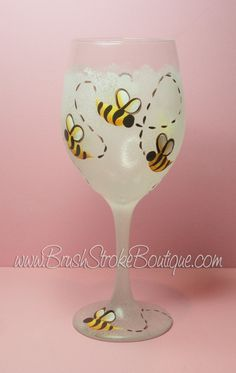 Hand Painted Wine Glass Bumble Bee White by BrushStrokeBoutique