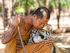 Monk with a tiger, so epic.