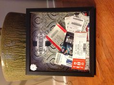Memory shadow box for tickets and good times!