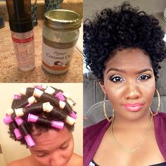 Here are the products I used to create this style.....On freshly washed/conditioned hair I applied a generous amount of coconut oil to my hair and then applied @carolsdaughter hair milk styling foam to each individual section before rodding it. I was rushing so I used the blow dryer to dry it. Took my fingers through my roots and fluffed it up. Hope this helped.