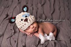 Crochet hat baby hat puppy dog set newborn by Beansknots on Etsy, $36.00