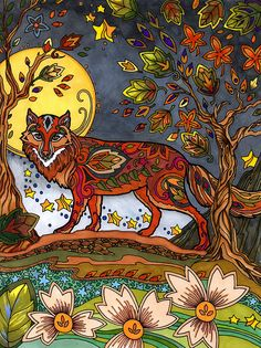 A Forest Fox original drawing Marjorie Sarnat from her book Fanciful Foxes. Fox Coloring Page, Colouring Pages, Adult Coloring, Coloring Books, Enchanted Forest Book, Enchanted Forest Coloring Book, Hand Made Greeting Cards, Making Greeting Cards, Art Nouveau