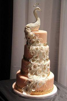 Peacock Cake #Indian #Wedding #Cakes                                                                                                                                                                                 More #IndianWeddingIdeas