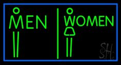 Men And Women Restroom Neon Sign 20 Tall x 37 Wide x 3 Deep, is 100% Handcrafted with Real Glass Tube Neon Sign. !!! Made in USA !!!  Colors on the sign are Green and Blue. Men And Women Restroom Neon Sign is high impact, eye catching, real glass tube neon sign. This characteristic glow can attract customers like nothing else, virtually burning your identity into the minds of potential and future customers.