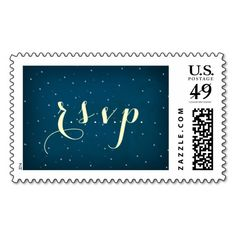 Starry Night Sky RSVP postage stamp template in midnight blue