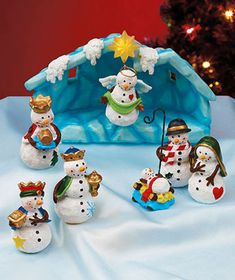 An adorable scene, the 8-Pc. Snowman Nativity Set provides frosty inspiration for all ages. This nativity scene has all the figures you expect, but they'r