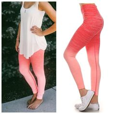 Coral Ombré Fade Workout Leggings Small/Medium So pretty !  Coral ombré workout leggings, high waist, size small/medium .  69% Nylon 21% Polyester 10% Spandex Blend.  No Trades, Price Firm unless Bundled.  BUNDLE 3 OR MORE ITEMS FOR 15 % OFF Boutique Pants Leggings