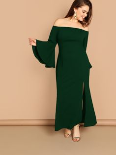 5b2ac285b Plus Off Shoulder Bell Sleeve Split Front Dress