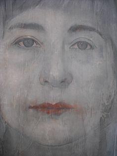 """""""Autoretrato"""" por Inma Pascual Aparici 2014 ,técnica mixta  Dibujo en tabla y tull...80 x 60 cm"""