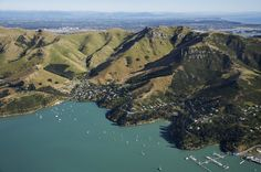 Lyttelton, with Christchurch over the hills, New Zealand