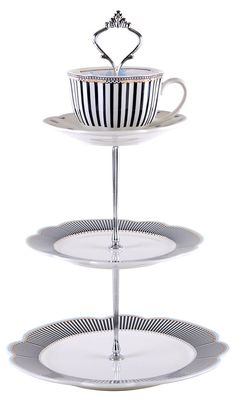 3-Tier Toile Navy Scallop Server | A Spot of Tea  | One Kings Lane