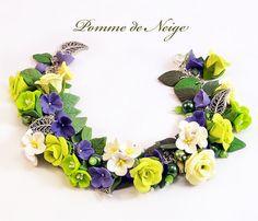 Floral cha cha charm bracelet Polymer clay jewelry Rose bracelet Flowers…