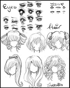 anime drawings | Manga/Anime Eyes and Hair by Lettelira on deviantART This hair is awesome!