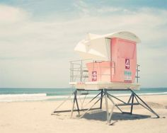 Beach Photography, Lifeguard Tower, Pastel Beach Decor, California Beach Art…