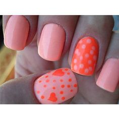 Find images and videos about nails, nail art and nail polish on We Heart It - the app to get lost in what you love. Fancy Nails, Love Nails, How To Do Nails, Pretty Nails, My Nails, Coral Nails, Orange Nails, Coral Orange, Kiss Nails