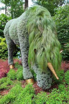 Green unicorn in the garden