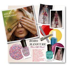 #BEAUTY WORKSHOP - Boho Manicure This OR That? by nikkisg on Polyvore featuring beauty, Deborah Lippmann, Essie, Rubis, Diamancel, Beautyworkshop and bohomanicure