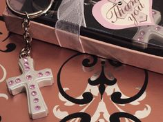 Blessed Events Cross Keychain