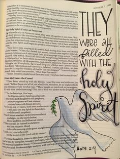Acts All of them were filled with the Holy Spirit and began to speak in other tongues as the Spirit enabled them. Acts Bible, My Bible, Bible Art, Bible Study Journal, Art Journaling, Prayer Journals, Holy Spirit Come, Speaking In Tongues, Daughters Of The King