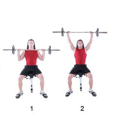 Seated Barbell Military Press -- front deltoids, rear deltoids, middle deltoids, traps, and triceps