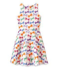 Love this White Bow Tie Skater Dress - Toddler & Girls by RUUM on #zulily! #zulilyfinds
