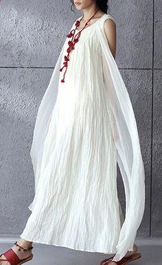881fc40d7d93 White flowy linen maxi dress sunderss holiday summer dresses