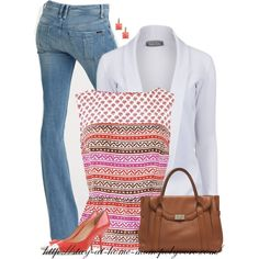 """Danielle Block Printed Top"" by stay-at-home-mom on Polyvore"