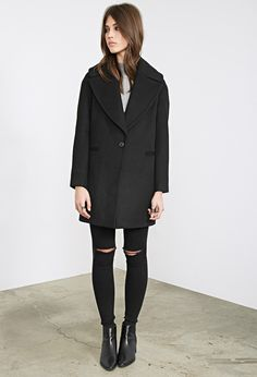Topstitched Wool-Blend Overcoat