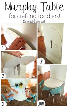 Perfect for Austin's Room! Simple instructions for building a small 'Murphy' table that folds down from the wall for crafting toddlers, and folds back up out of the way when no one is using it! Sawdust and Embryos Murphy Table, Ideas Prácticas, Room Ideas, Big Girl Rooms, Boy Rooms, Small Tables, Kid Spaces, Small Spaces, Toddler Crafts