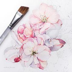 Peony in progress ✨ Watercolour Tutorials, Watercolor Artists, Watercolor Print, Watercolor And Ink, Watercolor Flowers, Watercolor Paintings, Zentangle Drawings, Art Drawings, Drawing Art