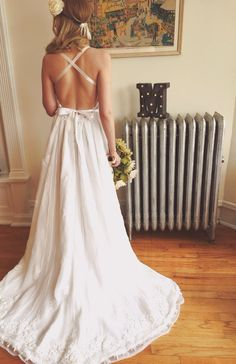 Backless Bohemian Wedding Dress by MrsRobinsonsDaughter on Etsy