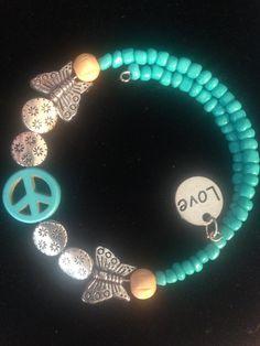 Turquoise Peace Wraparound Bracelet by AllaLunaDesign on Etsy