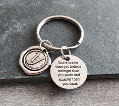You're braver than you believe, Silver Jewelry, Gift, inspiration, Inspire, Encourage, Recovery, Graduation, Silver Keychain, Silver Keyring by SAjolie, $19.95 USD