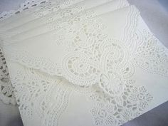 Doily Paper Lace Envelopes, Vintage, Handmade, White, Wedding Invitation Liner, Tea, Shabby Chic, 50 Piece Set