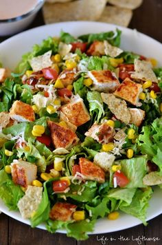 Chicken Taco Salad. This salad is packed with flavor! Click through for recipe!