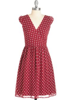 All She Wants to Do is Prance Dress - Red, White, Polka Dots, Casual, A-line, Cap Sleeves, Woven, Darling, V Neck, Mid-length