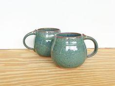 Pottery Mugs  Sea Mist Stoneware Ceramic Coffee by dorothydomingo