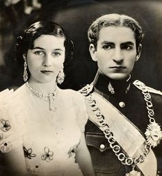 Princess Fawzia and the Shah of Iran.: