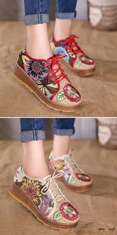 US$26.89 + Free shipping. Size: 5-9. Color: Beige, Red. Fall in love with casual and folk style! Embroidered Flower Platform Lace Up Folkways Casual Shoes.