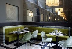 Joseph Dirand | Restaurant Interior. Interior Design. Modern Interior #interiordesign #moderndecor #restaurantinterior Read more: https://www.brabbu.com/en/inspiration-and-ideas/world-travel/sophisticated-upholstered-bar-stools-want