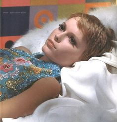 Wonderful blue dress on Mia Farrow, she looks amazing
