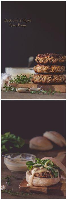 Mushroom Quinoa Burgers with Roasted Garlic & Thyme Mayonnaise