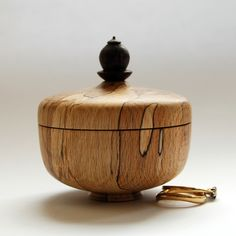The wood for this little box came from an old Beech tree which once grew in a friends wood before being brought down strong winds. Left to lie on the floor of the wood the beautiful spalted patterns formed in the Beech. Wooden Ring Box, Wooden Rings, Wooden Boxes, Wood Turning Projects, Lathe Projects, Wood Box Design, Wood Lathe, Wooden Art, Wood Bowls