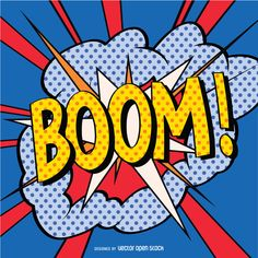 Colorful BOOM sign in pop art style with strong lines and dots. Perfect for posters and presentations to give your projects a comic vibe!